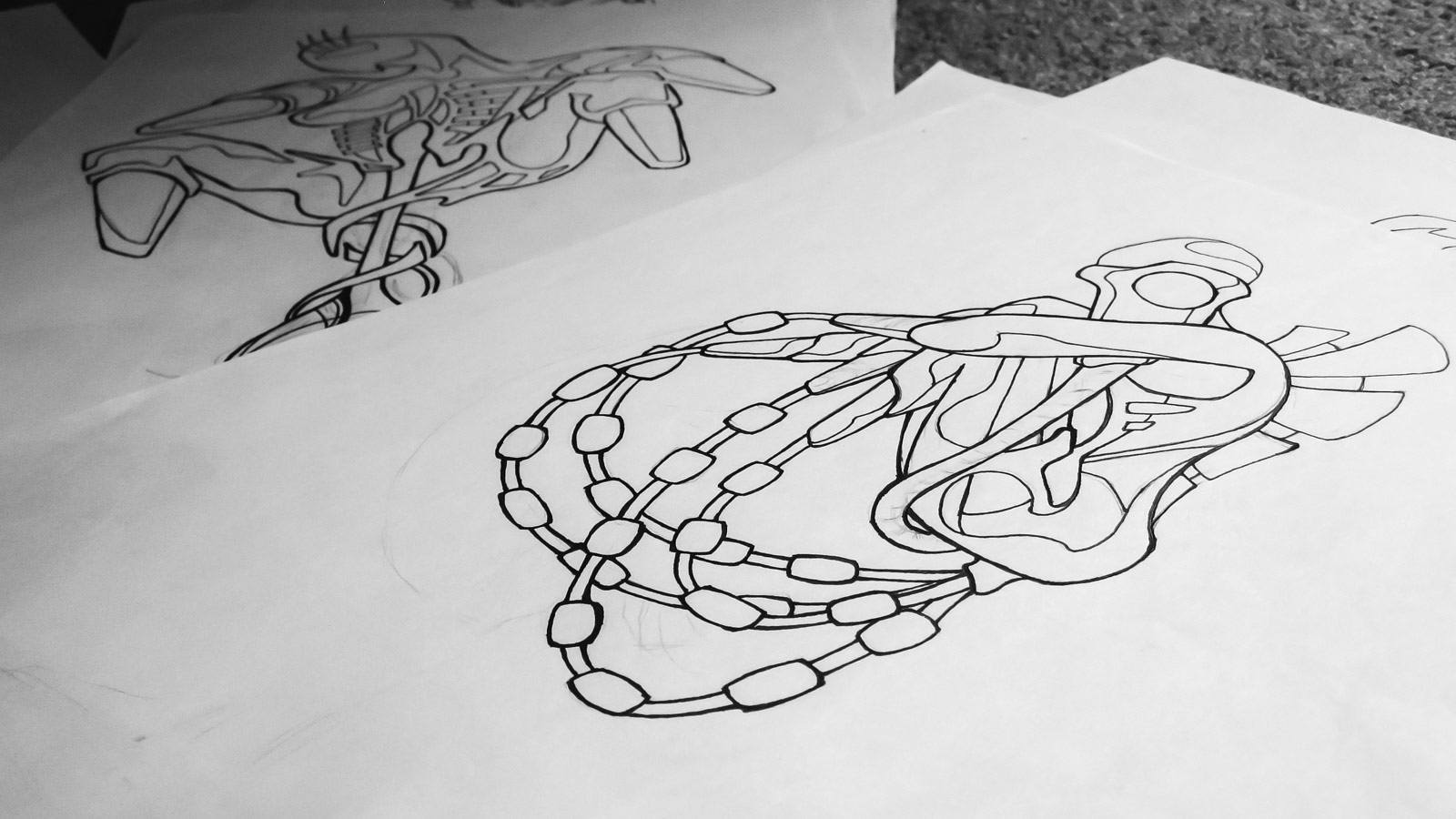 The Human Animal - Sexual Deconstructions of Robotic Females Skateboards - Drawing